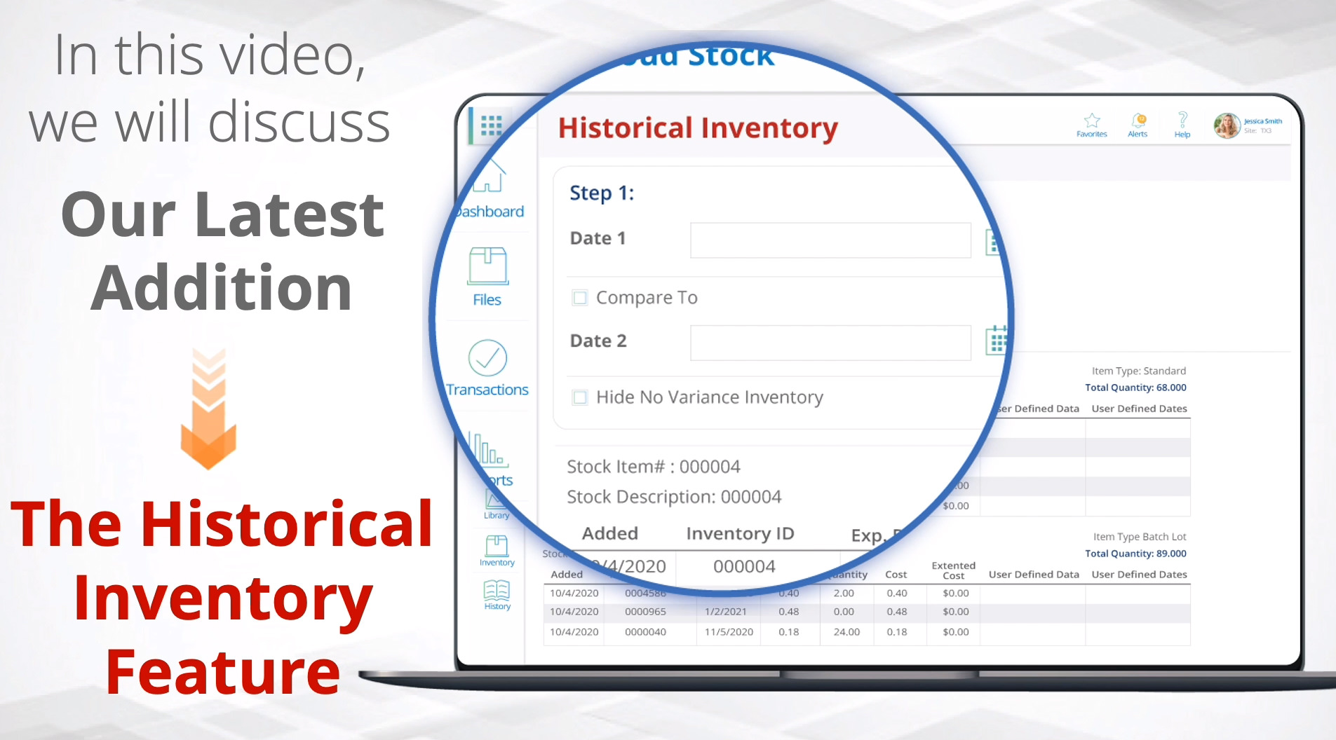 inventory report recorded history V150